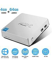 ACEPC T11 Windows 10 Pro Mini PC, 4GB Ram 64GB eMMC Intel Atom x5-Z8350 Fanless Mini Computer with HDMI and VGA Ports, Gigabit Ethernet, Dual Band WiFi, BT 4.2, 4K HD Graphics, VESA Mount