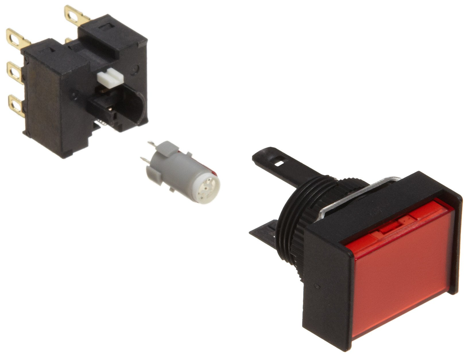 Omron A165L-JRA-24D-2 Two Way Guard Type Pushbutton and Switch, Solder Terminal, IP65 Oil-Resistant, 16mm Mounting Aperture, LED Lighted, Alternate Operation, Rectangular, Red, 24 VDC Rated Voltage, Double Pole Double Throw Contacts