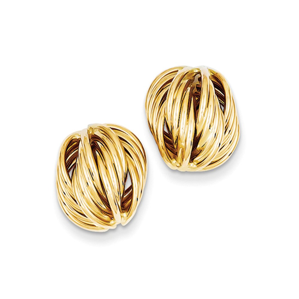 Twisted Knot Style Earrings in 14k Yellow Gold