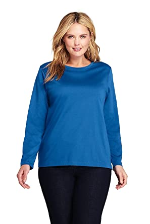 6df87e1bc8eb Lands' End Women's Plus Size Supima Cotton Long Sleeve T-Shirt - Relaxed  Crewneck