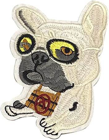 1PC~BROWN AND WHITE DOG~IRON ON EMBROIDERED APPLIQUE