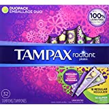 Tampax Radiant DuoPack (Regular and Super) Plastic Tampons, Unscented, 32 Count, Packaging May Vary