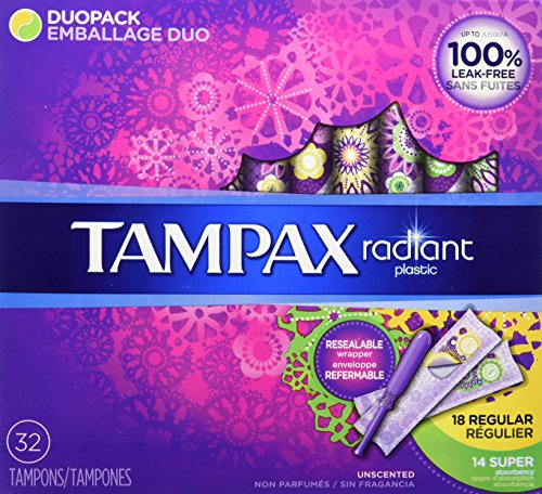Tampax Radiant DuoPack (Regular and Super) Plastic Tampons, Unscented, 32 Count, Packaging May Vary by Tampax