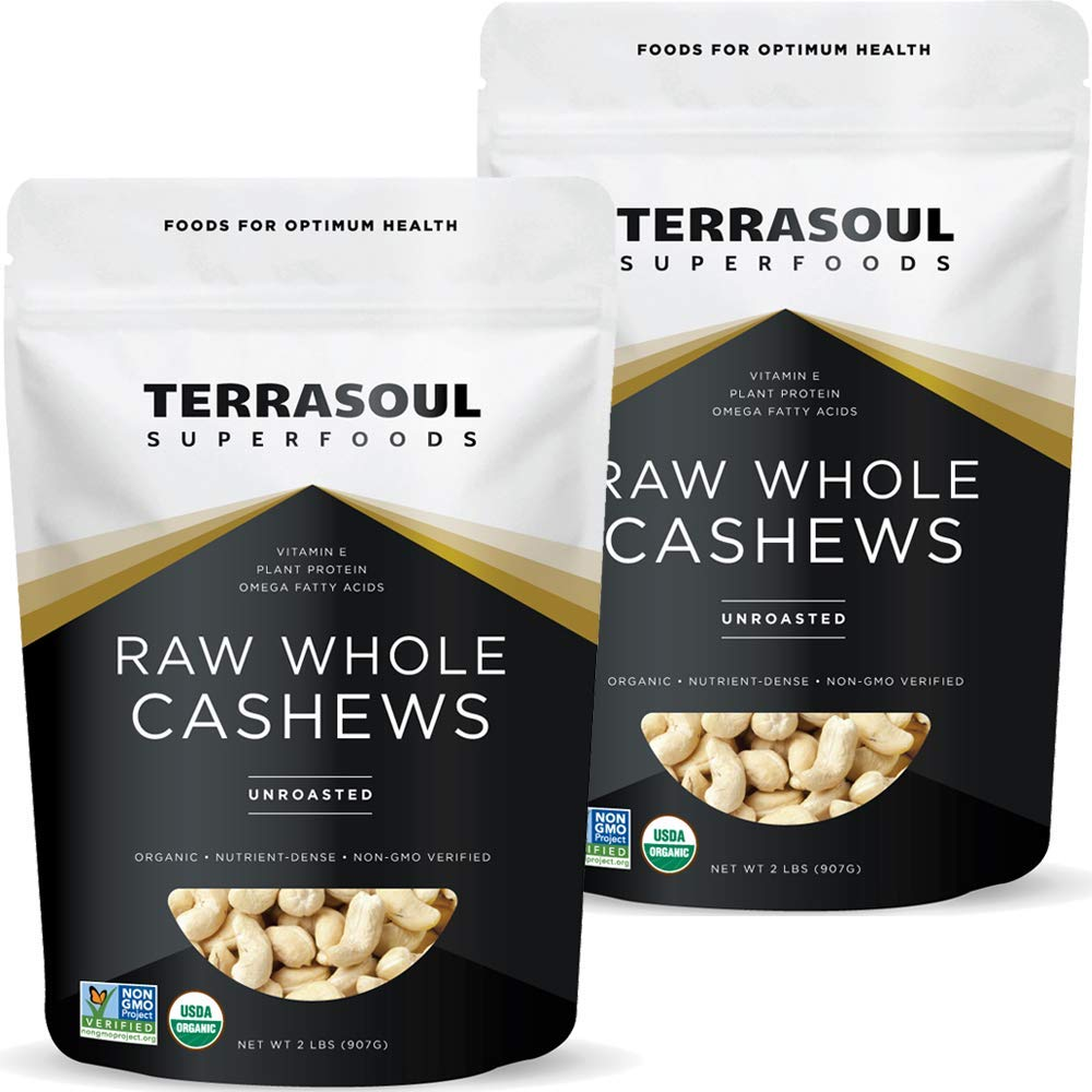Terrasoul Superfoods Organic Raw Whole Cashews, 4 Pounds