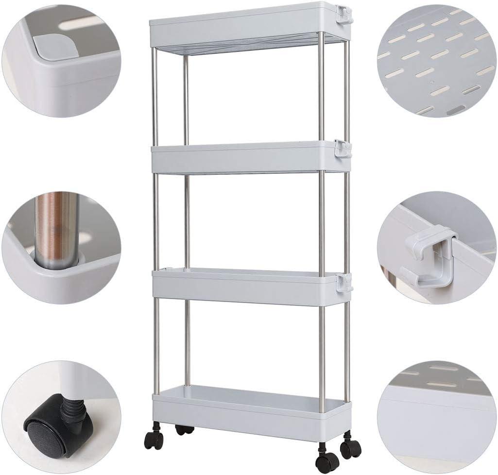 estante deslizable para la torre de almacenamiento de la nevera Estante organizador de almacenamiento de mapas con ruedas carrito de almacenamiento delgado para la colada de la cocina 3-Tiers beige