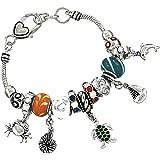 DianaL Boutique Silver Tone Colorful Starfish Magnetic Clasp Charm Bracelet BX4