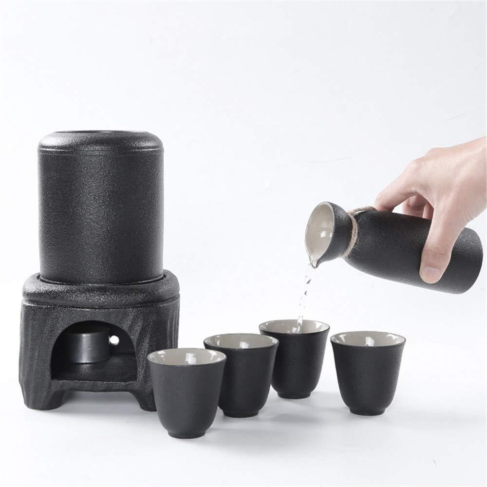 JIASHU Professional Japanese Style Ceramic Sake Serving Gift Set with Warmer, 7 Pcs, with 4Pc Sake Cups, 1Pc Sake Bottle, 1Pc Warmer Pot, 1Pc Heating Pot