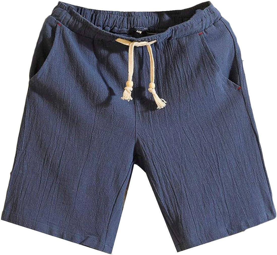 WSPLYSPJY Mens Drawstring Short Cotton Short Elastic Jogger Gym Shorts
