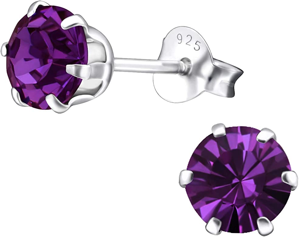 Crystals from SWAROVSKI® Genuine 925 Sterling Silver 6mm Round Stud Earrings