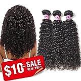 JVH Unprocessed Brazilian Curly Virgin Human Hair Weave 3 Bundles Remy Brazilian Sexy Kinky Curly Hair Extensions (16''18''20'')