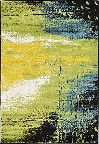 Abstract Painting Modern Area Rug Light Green 4' x 6' FT Luce del sole Collection Geometric Contemporary Thick Soft Living Dinning Bed room