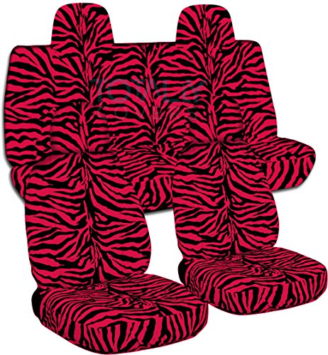 (Totally Covers Fits 2007-2017 Jeep Compass/Patriot Animal Print Seat Covers: Red Zebra - Full Set (29 Prints) Front Buckets & Split Rear Bench Airbag 2008 2009 2010 2011 2012 2013 2014 2015 2016)
