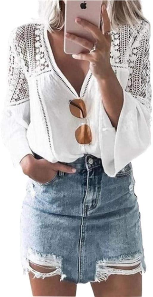 Blusa Blanca de Encaje ahuecada Mujer Blusa de Gasa con Cuello en V Manga de Cuerno de Encaje Blusas Elegantes Blusa Cosida Mujer Mujer: Amazon.es: Ropa y accesorios
