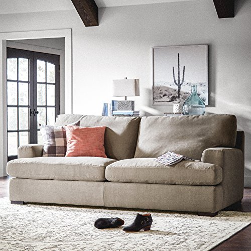 """Stone & Beam Lauren Down-Filled Oversized Sofa Couch with Hardwood Frame, 89""""W, Slate"""