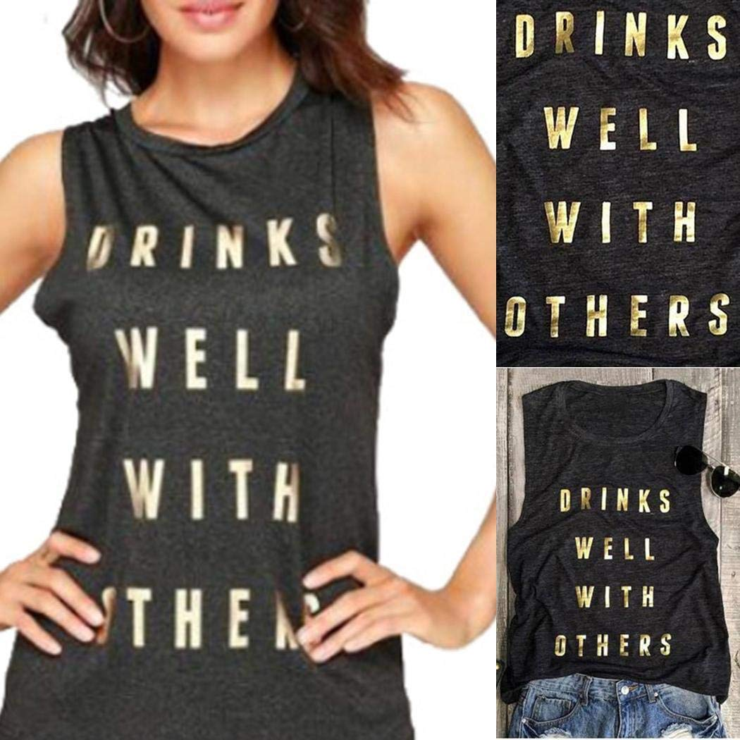 UpBeauty Women Summer Letter Printed O Neck Causal Tank Top Tanks & Camis S-3XL Grey