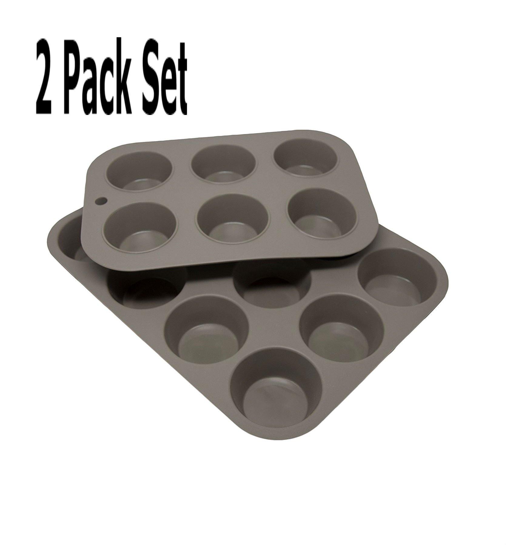 Silicone Baking Cake Pans Kitchen Cookware Kitchen Muffin Pan Cupcakes Circle 8 x 8 Inch Pie Pan (Gray (Muffin) Set)