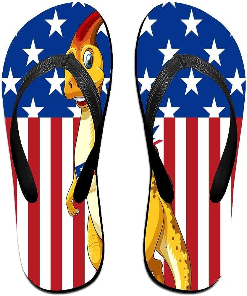 Z-YY Cute Dinosaurs Before Us Flag Womens Mens Lightweight Flip Flops Beach Slippers Shower Sandal