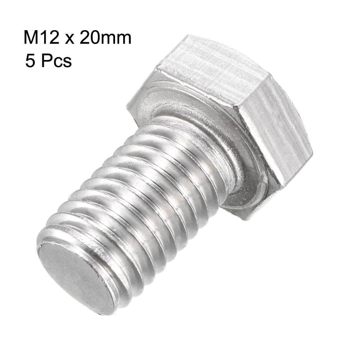Tornillos de cabeza hexagonal de acero inoxidable 304 de 100 mm con rosca M12 de Sourcing Map