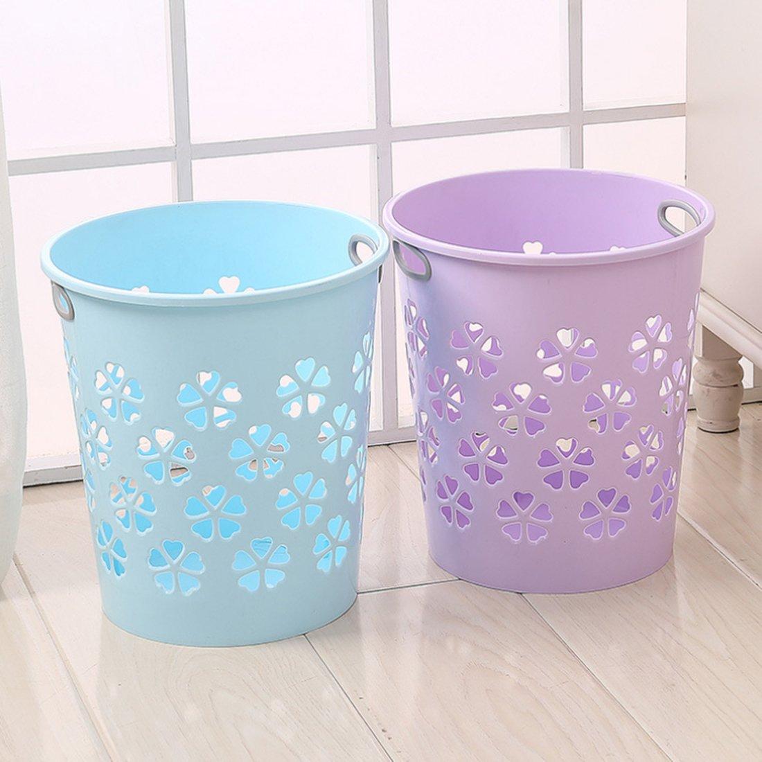 XSHION Waste Paper Basket Multi-purpose Hollowed-out Plastic Rubbish Bin Trash Can (Purple 2 Pack)