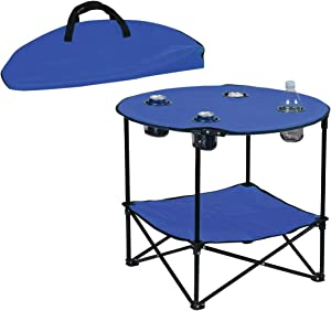 Preferred Nation Folding Table, Polyester with Metal Frame, 4 Mesh Cup Holders, Compact, ConvenientCarry Case Included - Blue