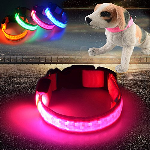 Checkered Nylon Adjustable Collars - Glumes LED Pet Collar, Light Up LED Nylon Adjustable Dog Collar with 3 Light Settings Checkered Luminous Effect and Strong Buckle Keep Pet Safe and Visible for Dogs& Cats