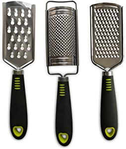 Cheese Grater, Hand-held Stainless Steel Zester for Kitchen - Multi-purpose Kitchenware,Set of 3 Grinders