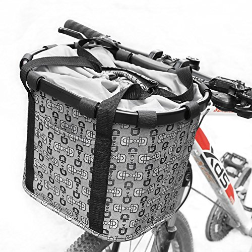 FEMOR Folding Bicycle Bike Basket, Front Detachable Handlebar Cycling Bag with Metal Frame and Carrying Handle for Shopping & Outdoor Activities