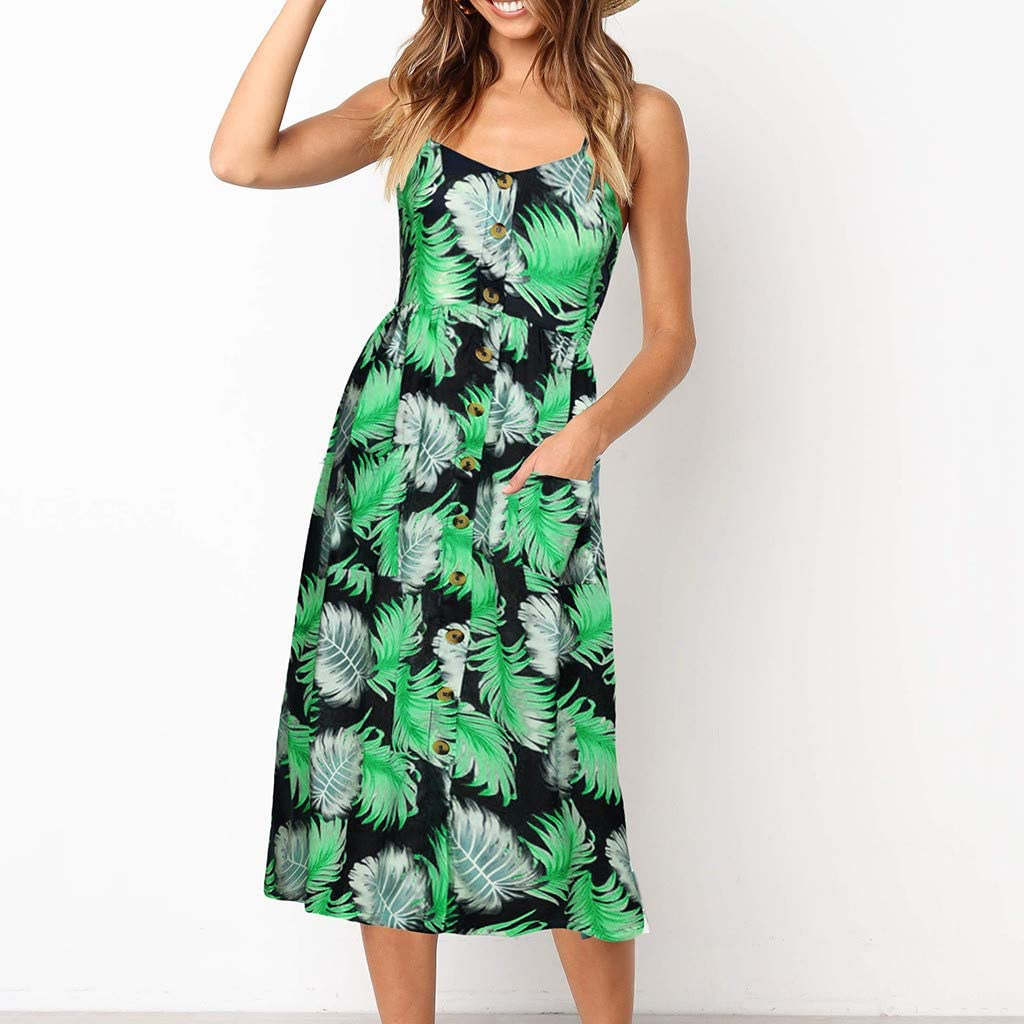 Dress for Women Dresses-Summer Floral Bohemian Spaghetti Strap Button Down Swing Midi Dress with Pockets