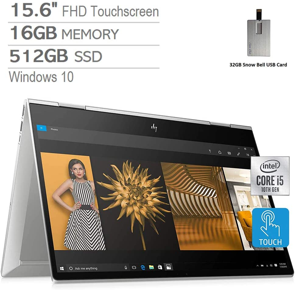 "2020 HP Envy x360 2-in-1 15.6"" FHD Touchscreen Laptop Computer, Intel Core i5-10210, 16GB RAM, 512GB PCIe SSD, Intel UHD Graphics, B&O Audio, HD Webcam, Windows 10, Silver, 32GB Snow Bell USB Card"