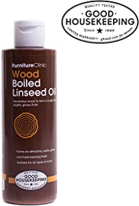 Furniture Clinic Boiled Linseed Oil for Wood Furniture & More | 8.5 oz (250 ml) Refined Oil | Glossy Finish for furniture, table tops, stone & metal