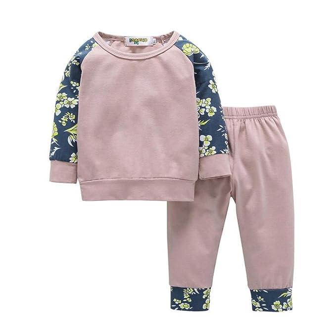 MEIbax Conjuntos de Ropa 2pcs niños bebé niño Chico niña Ropa Conjunto Floral Tops + Pantalones Trajes: Amazon.es: Ropa y accesorios