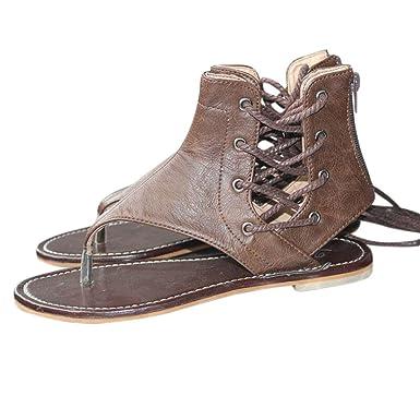 OYSOHE Frauen Prise Große Flachem Boden römischen Sandalen Riemchen Sandalen  Ankle Flachriemen Schuhe Damen Sandalen mit 6a8ae8cfeb