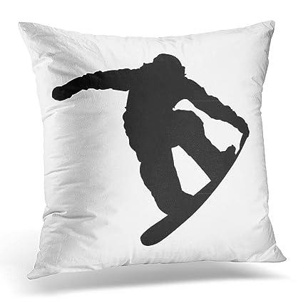 Amazon Emvency Throw Pillow Cover Black Snowboard Snowboarder Beauteous Winter Throw Pillow Covers
