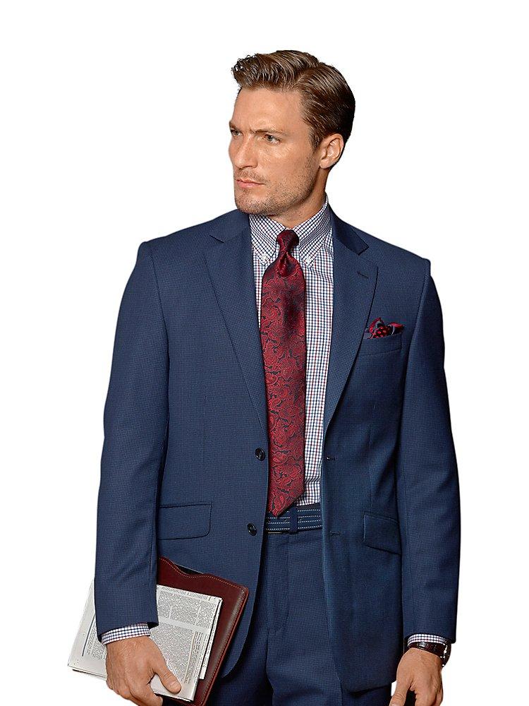 Paul Fredrick Men's Super 100s Wool Suit Jacket Indigo 54 Long