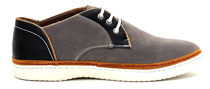 CABALLEROS Zapatos de Diario Imitación Ante Cordones Inteligente Zapatillas - Gris/Negro, 39.5 EU