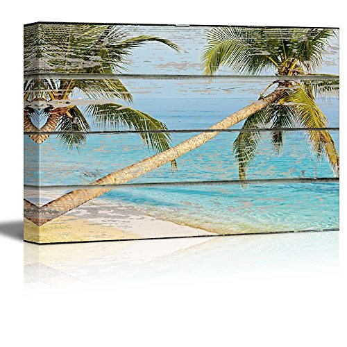 Two Palm Trees by The Seaside on Vintage Wood Textured Background Rustic Country Style