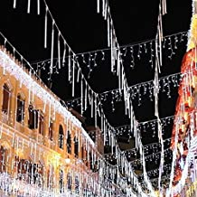 Arzweyk Luces de Lluvia para Ducha (240 Ledes, Impermeables, para Decoración de Navidad, Luces de Llama, para Bodas, Fiestas), Blanco
