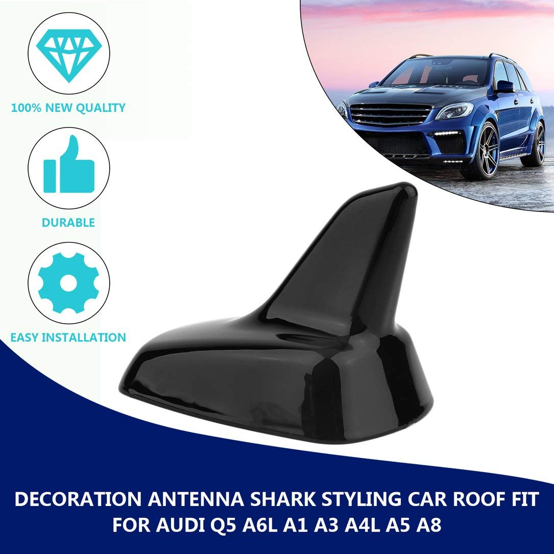 Negro Oupeng Decoraci/ón Antena Shark Styling Car Roof Fit para Audi Q5 A6L A1 A3 A4L A5 A8