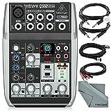 Behringer Xenyx Q502USB Premium 5-Input 2-Bus Mixer with Basic Accessory Bundle