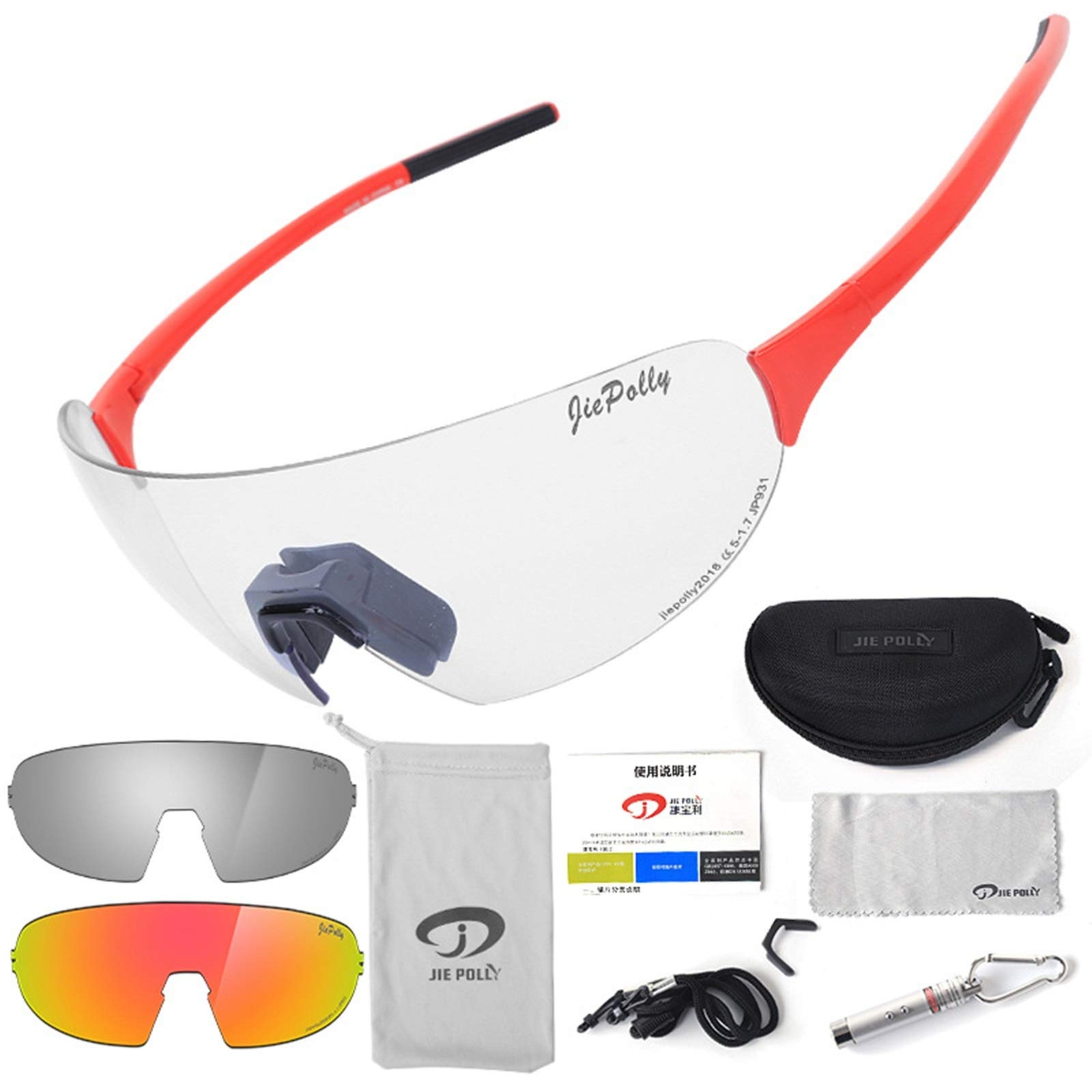 Adisaer Cycling Glasses Wind Outdoor Sports Riding Color-Changing Glasses Men and Women Running Fishing Bicycle Windproof Polarized Glasses Red Luxury for Adults