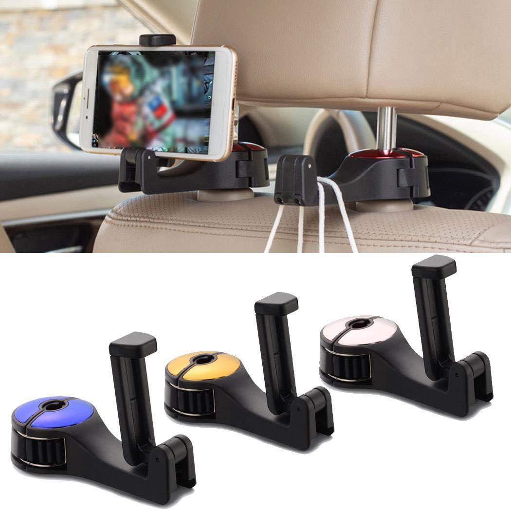 mekolen Multi-functional Bracket Hook Car Seat Mobile Phone Holder Auto Headrest Hanger Hook Stand Storage Hook Mounts & Stands, Gold