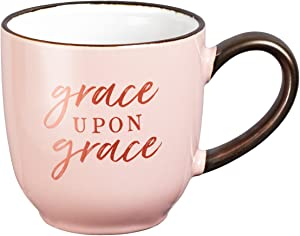 "Christian Art Gifts Pink Coffee/Tea Mug for Women |""Grace Upon Grace"" – John 1:16 Cute Bible Verse Coffee Cup with Rose Gold Accents 