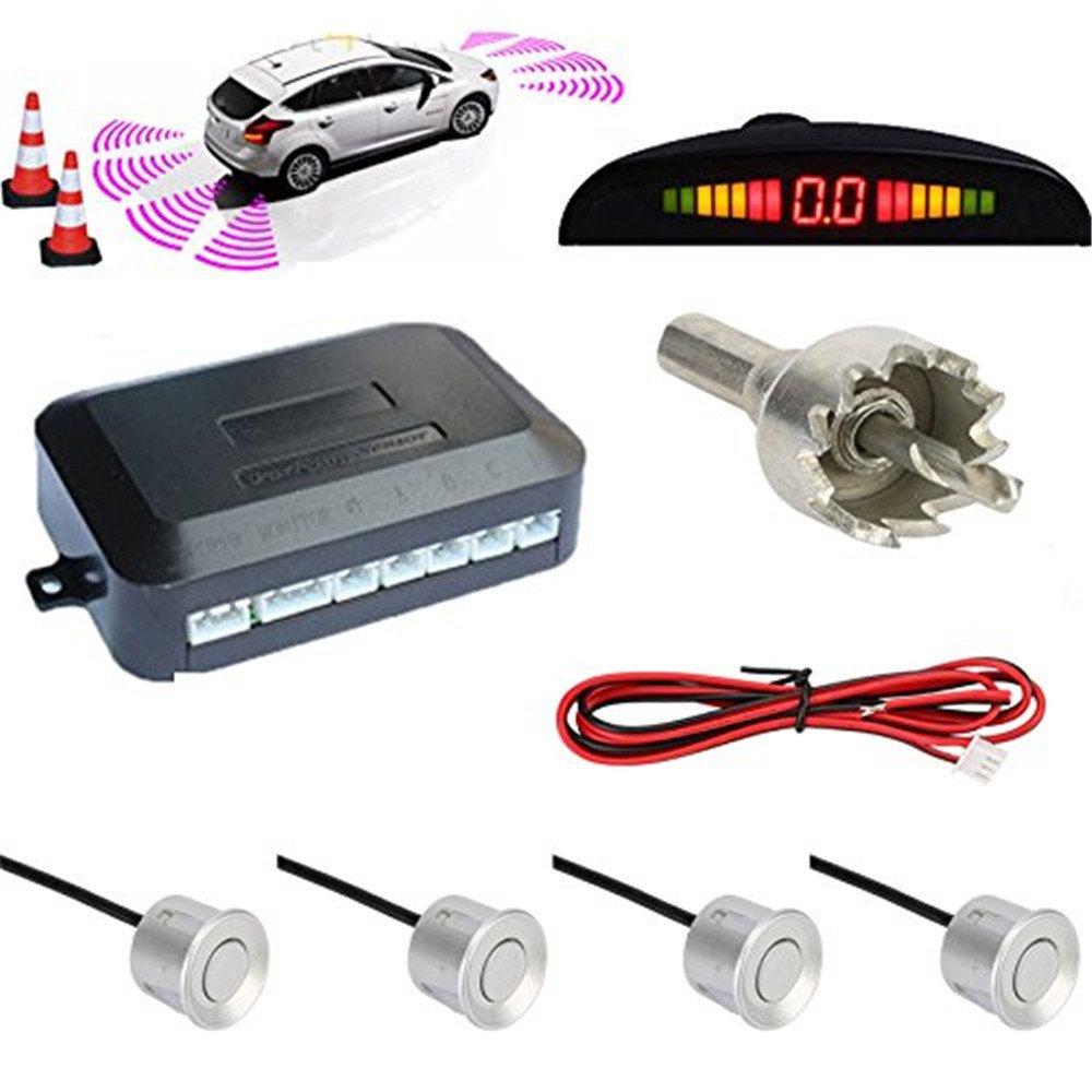Auto auto LED retromarcia kit 4 sensori di parcheggio cicalino allarme sistema audio display ROSE T 112-PG