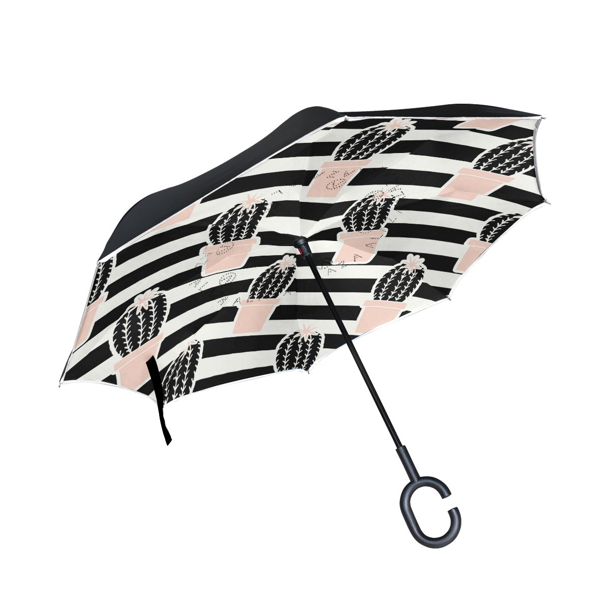 giovanior Hand Drawn Cactus Inverted Double Layer Straight Umbrellas inside-outリバーシブル傘C型のハンドルの雨太陽車使用   B07D7TLHKQ