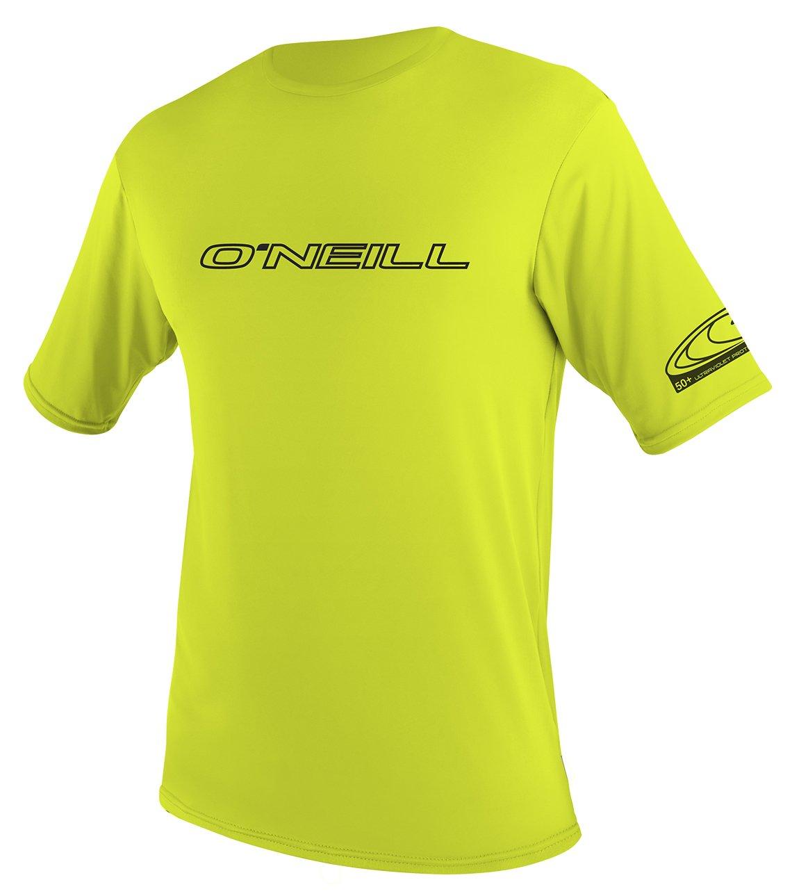 O'Neill UV 50+ Sun Protection Youth Basic Skins Short Sleeve Tee Sun Shirt Rash Guard, Lime, 6