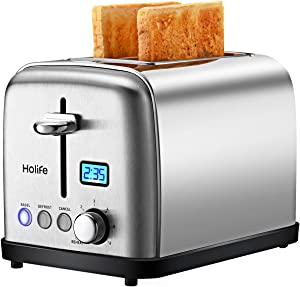 Toaster 2 Slice LCD Display 6 Bread Settings 1120226
