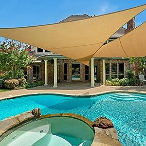 E.share 20′ X 20′ X 20′ Sun Shade Sail Uv Top Outdoor Canopy Patio Lawn Triangle Beige Tan Desert Sand …