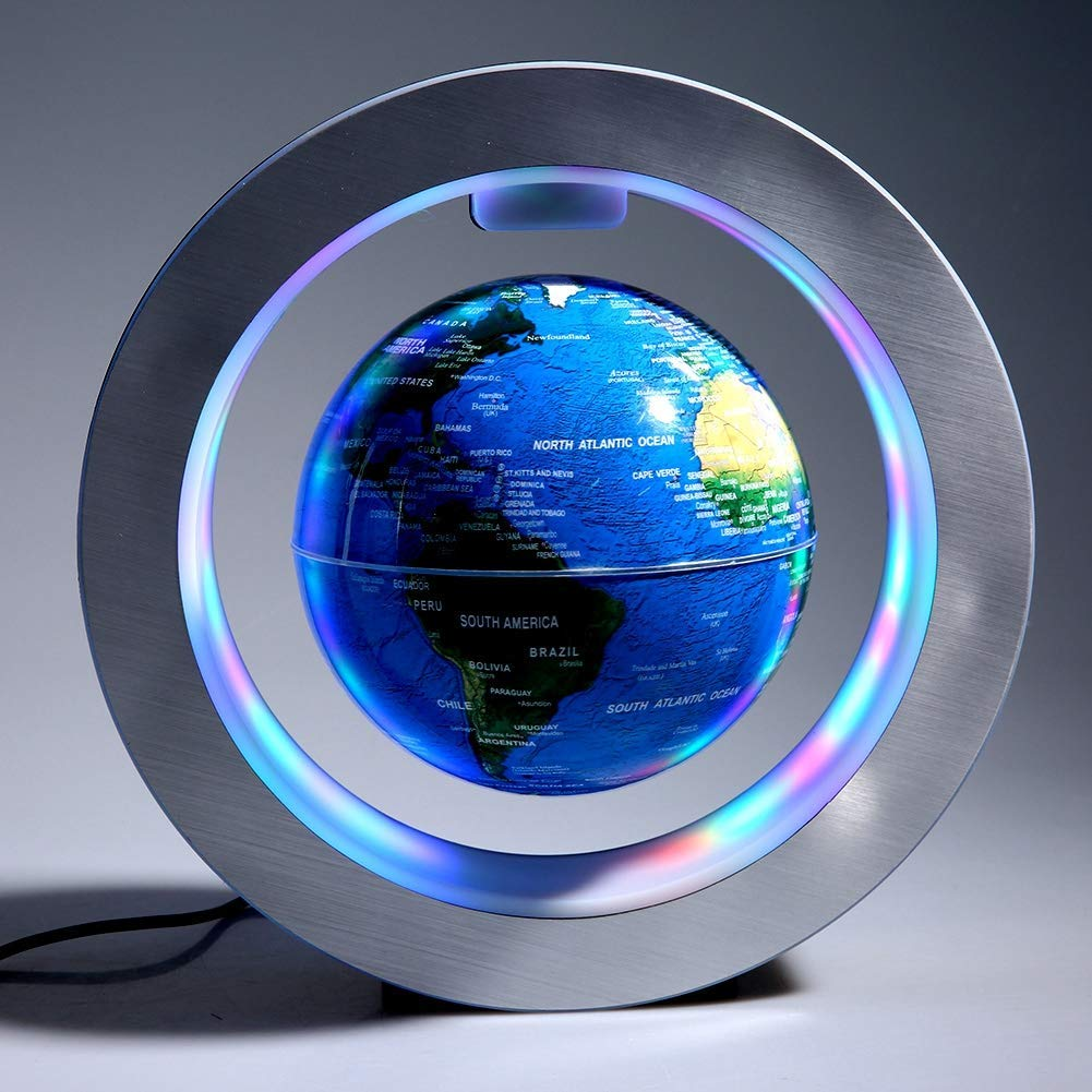 Magnetic Floating Map Globe with Round Socket, 4'' Rotating Planet Earth Globe Ball Anti Gravity LED Light Lamp- Educational Gifts for Kids, Home Office Desk Decoration,Business Gift(Blue) by WanTang (Image #1)
