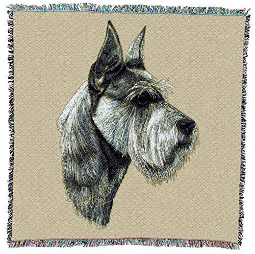Pure Country Weavers - Schnauzer Woven Throw Blanket with Fringe Cotton. USA Size 54x54