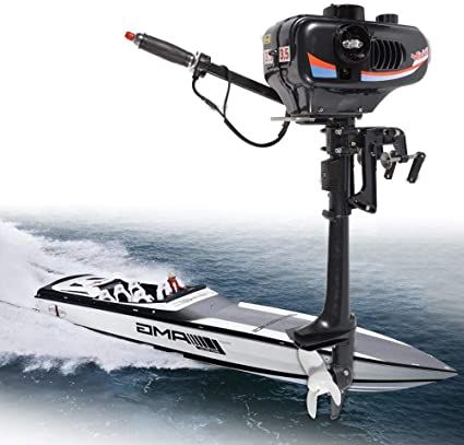 HYYKJ Outboard Motor Boat Engine 3.5 HP 2 Stroke Outboard Motor Marine Inflatable Fishing Boat Engine with CDI Air Cooling System 16 Shaft Length US Stock